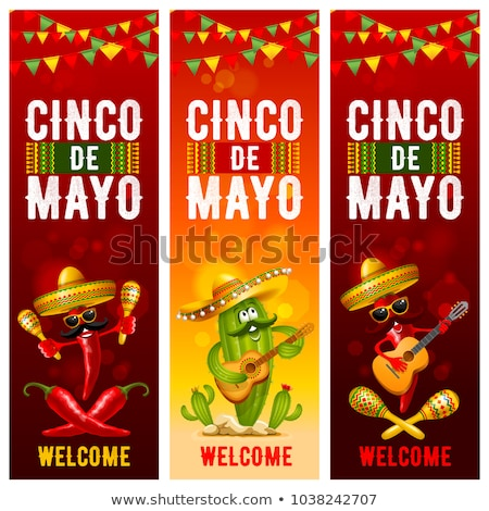 mexican cactus and red chili pepper in sombrero cinco de mayo text holiday greeting card stock photo © orensila
