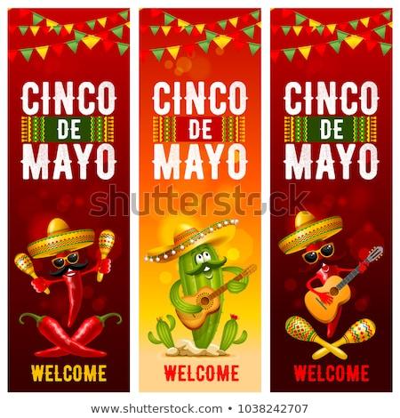 Mexikói kaktusz piros chilipaprika szombréró majonéz Stock fotó © orensila