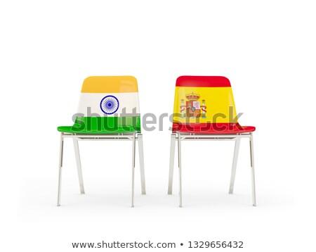 Kettő székek zászlók India Spanyolország izolált Stock fotó © MikhailMishchenko