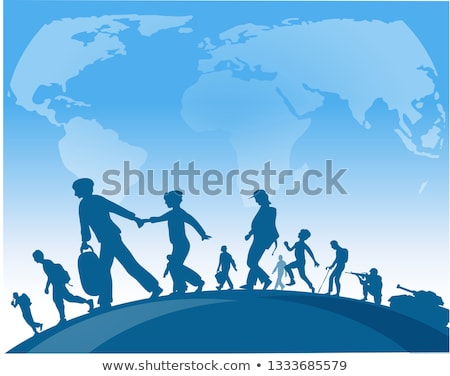 immigration people walk under world map background Stock photo © doomko