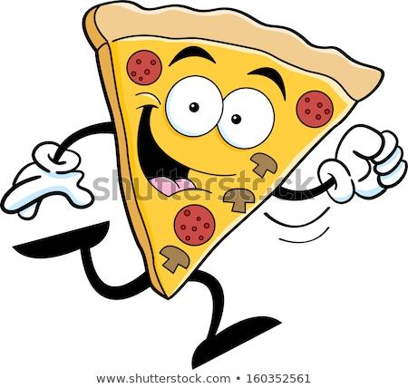 Cartoon pizza slice esecuzione illustrazione fetta pizza Foto d'archivio © bennerdesign