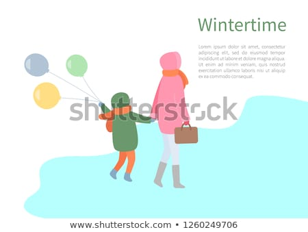 Turning Back People, Walking in Wintertime Vector Stock photo © robuart