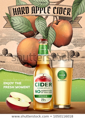realistic glass with apple cider or beer vector stock photo © pikepicture