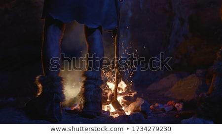 Jaskini jaskiniowiec ilustracja rysunek cartoon ludzi Zdjęcia stock © colematt