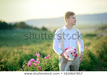 bruidegom · zonnebloem · knoopsgat · bruiloft · steeg · pak - stockfoto © elenabatkova