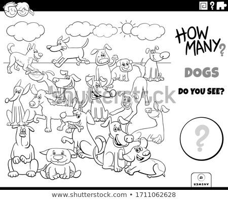 counting dogs activity worksheet task Stock photo © izakowski