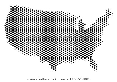 Honeycomb hexagonal USA map. Vector halftone geographic plan on a white background. Abstract USA map Stock photo © kyryloff
