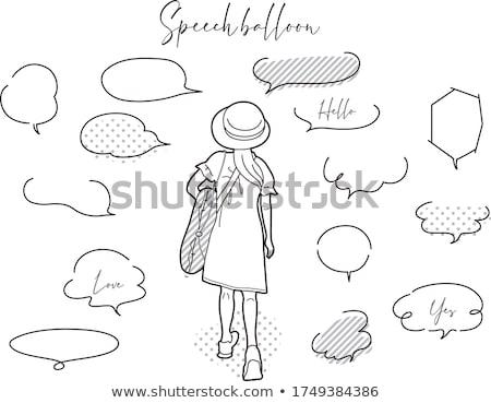 Lány szöveglufi illusztráció textúra kommunikáció beszél Stock fotó © colematt