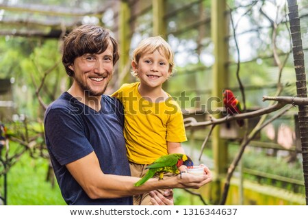 dad and son feed the parrot in the park spending time with kids stock photo © galitskaya