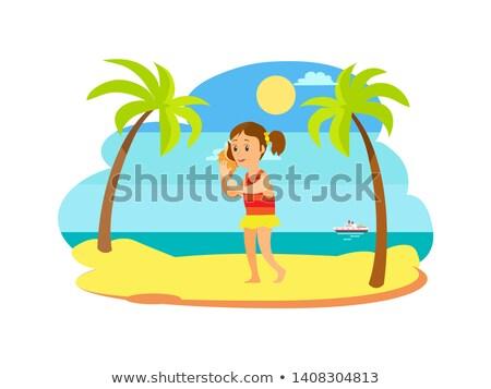 Gyermek kagyló tengerpart tenger kilátás vektor Stock fotó © robuart