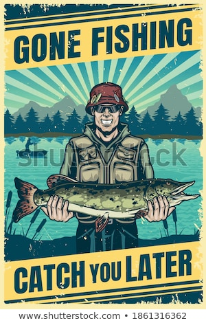 Man Holding Fisher-rod with Pike, Fishing Vector Stock photo © robuart