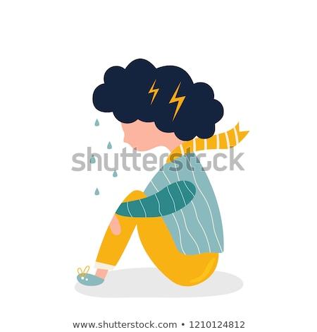 Nino nina ansiedad ilustración ansioso sesión Foto stock © lenm