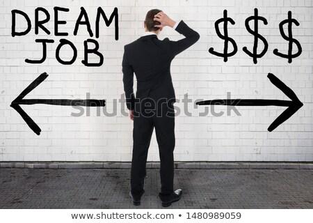 Stockfoto: Zakenman · kiezen · droom · baan · dollarteken · twijfelachtig