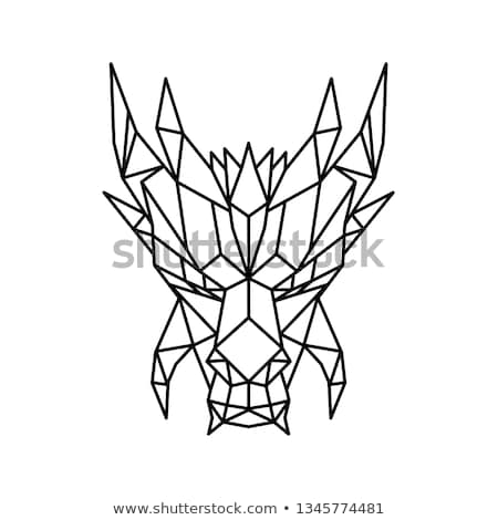 Dragon Head Front Low Poly Black and White Stock photo © patrimonio