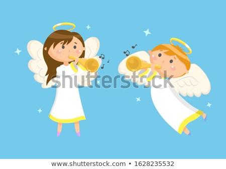 Vliegen engel spelen trompet jongen vector Stockfoto © robuart