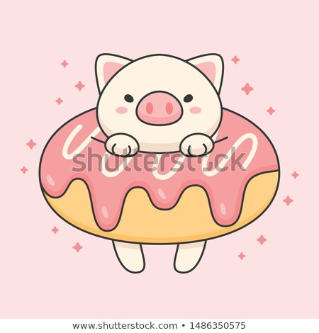Vector character of cute pig in a strawberry doughnut Stock photo © amaomam