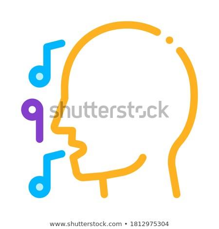 man · silhouet · zingen · lied · concert · vector - stockfoto © pikepicture