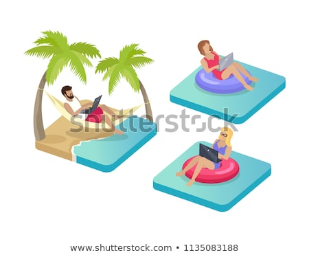 Distant Work on Beach, Man Using Laptop Vector Stock photo © robuart