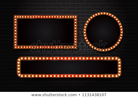 Arrow marquee light board sign. Retro frame arrows with bulb lamps.Vector Stock photo © Andrei_