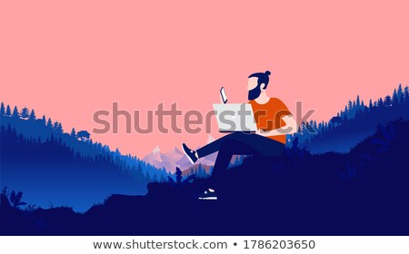 Freelancer Working in Mountains on Nature Vector Stock photo © robuart