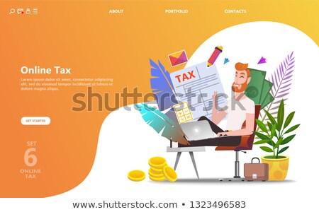 Tax form isometric 3D landing page. Stock photo © RAStudio