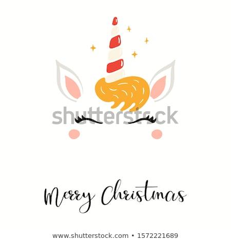 üdvözlőlap vidám karácsony kívánságok fiú lány Stock fotó © robuart