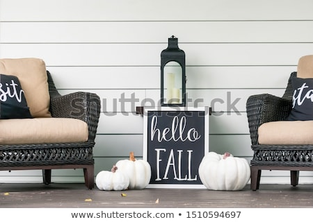 Halloween Front Porch Decorated with Pumpkin Lanterns Stock photo © solarseven