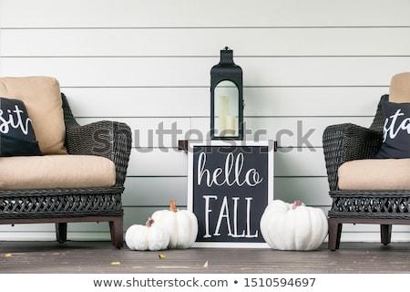 Halloween veranda ingericht pompoen lantaarns Stockfoto © solarseven
