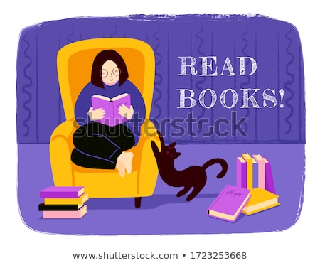 Cute cat sitting on a pile of books cartoon hand drawn style Stock photo © amaomam