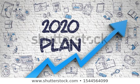 2020 Plan Drawn On Brick Wall Illustration With Doodle Design Icons Foto stock © Tashatuvango