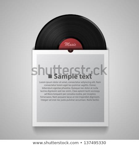 doboz · fekete · bakelit · lemezek · fejhallgató · felső - stock fotó © przemekklos