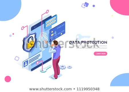 Danych prywatność malutki ludzi biznesmen tarcza Zdjęcia stock © RAStudio
