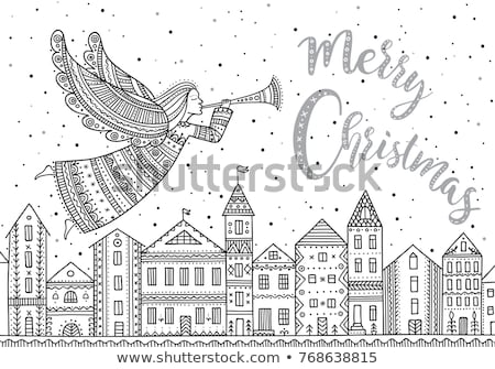 Christmas Angels above Town in Sky, Winter Holiday Stock photo © robuart