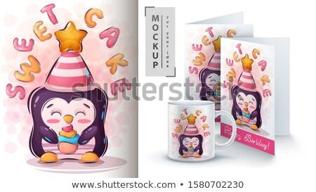 Pinguin cake poster vector eps 10 Stockfoto © rwgusev