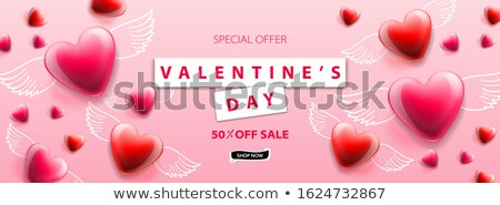 Valentines Day sale background. Romantic composition with winged hearts. Vector illustration for web Stock photo © ikopylov