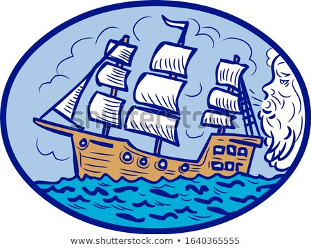 Fúj vitorlás hajó ovális rajz rajz stílus Stock fotó © patrimonio