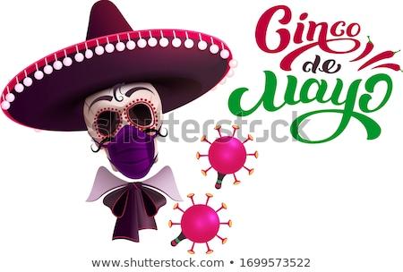 Kafatası geniş kenarlı şapka maske koruma coronavirüs Stok fotoğraf © orensila
