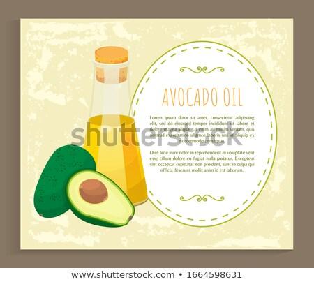 Poszter recept avokádó üveg olaj vektor Stock fotó © robuart