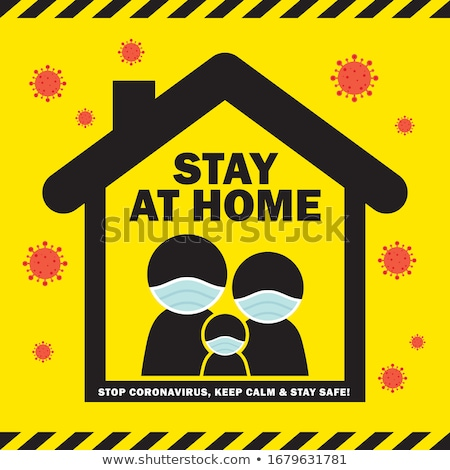 stay home and safe background with house symbol Stock photo © SArts