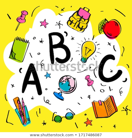 School beginnings. ABC letters doodle style on yellow background, smart kids, vector illustration. Stock photo © ikopylov