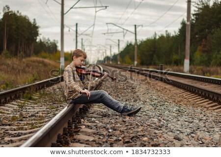 Jongen spoorweg schoonheid zonsondergang zout meer Stockfoto © olira