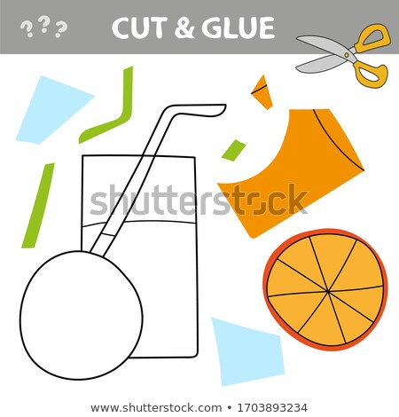 Easy educational paper game for kids. Simple kid application with Orange Juice Stock photo © natali_brill