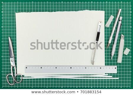Kağıtları levha boş cetvel araçları Stok fotoğraf © yupiramos