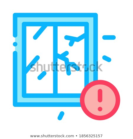 Geknackt Fenster Symbol Vektor Gliederung Illustration Stock foto © pikepicture