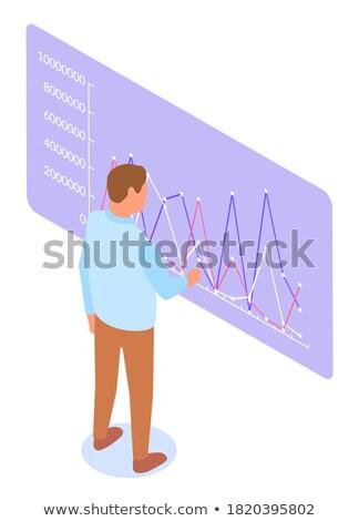 Işadamı bakıyor veri tahta vektör Stok fotoğraf © robuart