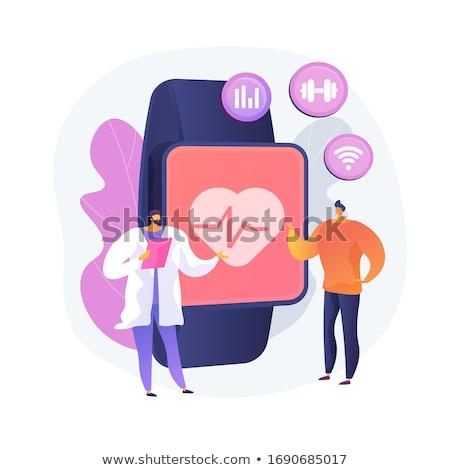 Ritmo cardíaco vector metáfora portátil pulso muñeca Foto stock © RAStudio