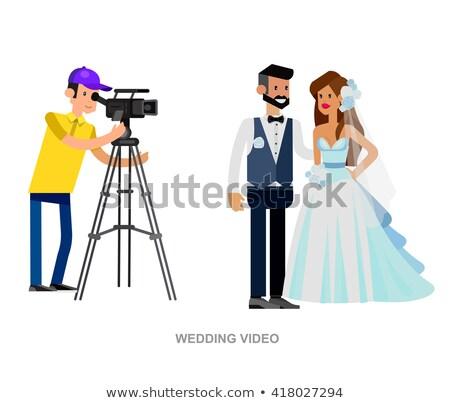 Videocamera huwelijksceremonie vector icon isometrische kleur Stockfoto © pikepicture