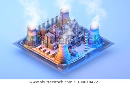 Przemysłu komin biały dymu działalności fabryki Zdjęcia stock © Ansonstock