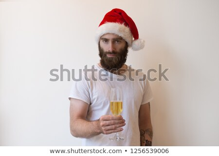Foto stock: Vidro · champanhe · isolado · branco · mulher