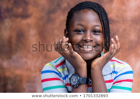 Сток-фото: африканских · девушки · блузка · джинсов · случайный · изолированный